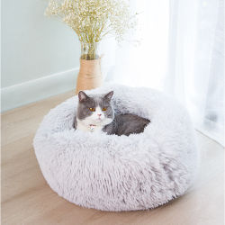Hotsale netter Kissen-weich warmer bunter langer Plüsch-rundes Hundehütte-Krapfen-Hundekatze-Haustier-Bett