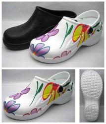 Senhora EVA entupir sandálias sapatos com impressão de OEM (21FC757)