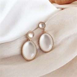 Fashion femmes charmant Opale ovale du DROP Earrings Gold de mariage élégant Mesdames Earrings Bijoux femelle