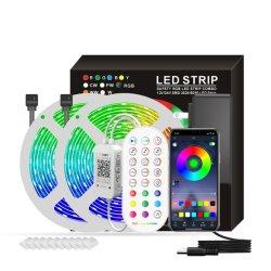 Comercio al por mayor de la luz de la decoración de boda vacaciones RGB LED impermeables cintas de trabajo Bluetooth Smart tira SMD 5050 Luces de Navidad 5/10/15/20/30 m.