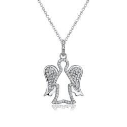 ذكرى CZ كريستيان ليتل زيركون 925 Sterling Silver Guardian Angel مجوهرات قلادة للنساء