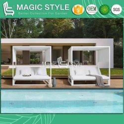 Lit de repos en aluminium de plein air avec coussin de PU Hôtel Jardin Transats Transats Transats de loisirs avec mobilier moderne Curtians lit de repos