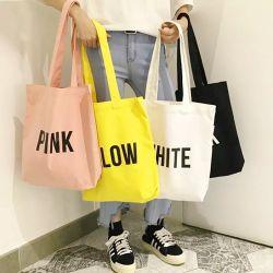 Venda por grosso Ecológico Sacola grande de lona de algodão orgânico em branco Tote sacos com logotipo impresso Personalizado