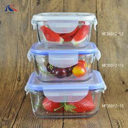 Ciotole di insalata di vetro di pranzo della ciotola della radura stabilita della casella con i coperchi