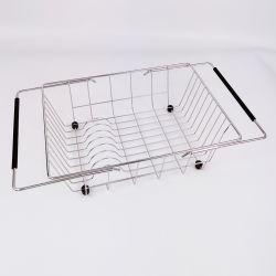 Extensible jusqu'au cours de l'évier plat format rack de stockage de vidange du dissipateur de séchage Panier Cuisine plat en acier inoxydable drainer Rack