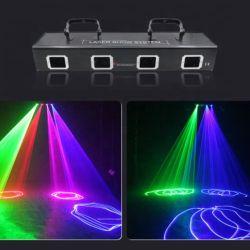 Светодиодный индикатор лазера 4 Глаза Полноцветный регулятора яркости освещения приборов при перемещении лазерный светодиод этапе DJ Disco лампа