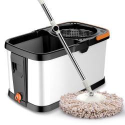 Hand-Washing 두껍게 한 벨트 바퀴의, 노동 절약 및 물 저축 스테인리스 자전 Mop 물통 세트를 이중 모십시오