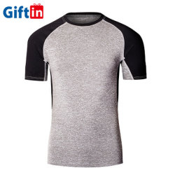Kleding van de Slijtage van de Spier van de Fabriek van Mens drukte de Slanke T-shirt van de Mensen van de Gymnastiek van de Mensen van de T-shirt van de Gymnastiek van de Sport van de T-shirt van de Fitness van Spandex van de Polyester van Mensen de Droge Geschikte af