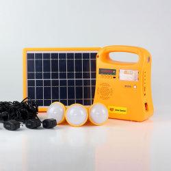 De mini Draagbare 5W ZonneGenerator van de ZonneMacht van het Systeem van het Huis met LEIDENE Radio/USB/3 van het Licht van de Toorts/van de Lezing Light/FM Bollen