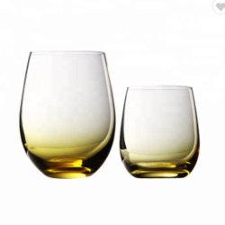Vetri di vino Stemless colorati colore giallo di cristallo dipinto a mano dello spruzzo