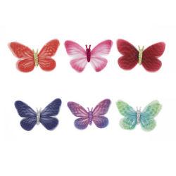 6.5Cm ORGANZA RIBBON Bow rouge/violet/Violet/Blue Butterfly chiffon Clip-Dy12001 pour cheveux
