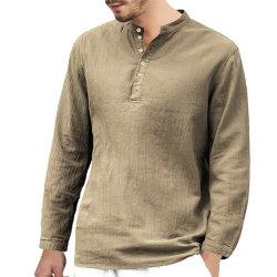 단추를 가진 리넨 직물 남자 셔츠가 도매 우연한에 의하여 스포츠 착용 긴 소매 지친다