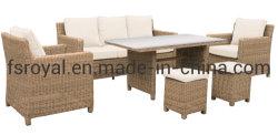 Jardín patio de juego de comedor de ratán sillón de mimbre Muebles de comedor al aire libre hogar moderno de muebles de ratán
