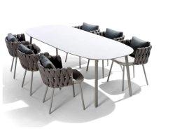 Comercio al por mayor de muebles de jardín de la cuerda al aire libre juego de comedor Muebles de aluminio Hotel patio de juego de mesa y sillas Muebles de Comedor