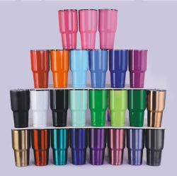 卸し売り二重壁によって絶縁されるガラスわらのタンブラーのステンレス鋼のタンブラーの習慣のロゴ