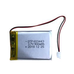 Nova célula personalizados 3.7V 900mAh 603443 Bateria de polímero de lítio