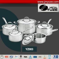 10PCS roestvrij staal Cookware die met Geplaatst Deksel, Keukengerei, Potten en Pannen wordt geplaatst