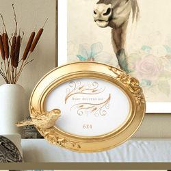 Europese stijl woonkamer Retro Gouden Vogel creatieve vorm Resin Ovaal fotoframe Bruiloft Photo Studio fotolijst
