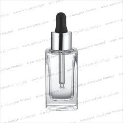 Frasco gotero de vidrio cuadrado soporte plano recipiente de cristal Cuadrada 30ml de suero de loción de paquete para cremas