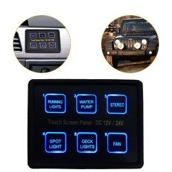12V/24V 6 pista levou o Painel de Interruptores do Painel de Controle sensível ao toque elegante caixa para aluguer de barco Marinho