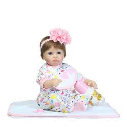40см Новый силикон возрождается малыша игрушка кукла девочек Brinquedos подарком для ребенка для детей виниловых новорожденных Baby-Reborn кукла голубые глаза