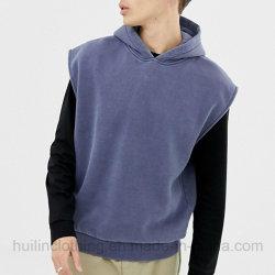 Sweat-shirt en coton Vintage personnalisé Overdye pull Plain Hoodie sans manches pour hommes
