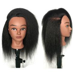 Cabeça do manequim afro-americanos com o Real de cabelo humano para entrançar Formação Cabelo Hairart barbeiro cabeleireiro Head