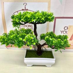도매 녹색 가정 훈장 Bonsai 실내 플라스틱 인공 꽃 플랜트
