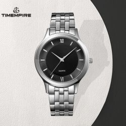 Black Dial analógico de cuarzo Plata Men's Watch (72628)