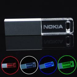 Acrylique lecteur Flash USB en vrac de 128 Mo 256 Mo 1 Go 2 Go 4 Go 8 Go de disques durs 16 Go USB transparent avec prix d'usine de lumière à LED