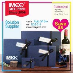 La serie impaccante dell'imballaggio su ordinazione di stampa di Imee imposta il regalo del vino del sacchetto del contenitore di legno di cartone dei punti
