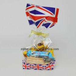 Customzied druckte BOPP transparenten quadratischen harten geendeten seitlichen Stützblech-Brot-Zellophan-Süßigkeit-Beutel-Geschenk-Beutel mit harter Unterseite