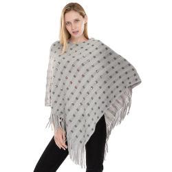 Nouveau mode de femmes Poncho tricoté avec des perles, petite commande frange bon marché de gros châle