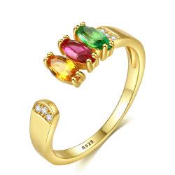 Chapado en rodio personalizada allanar Diamante Señoras Anillo Abierto plata esterlina 925