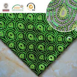 Высокая Qlty Sequin ткань фантазии переливчатый зеленый полиэфирной сетки 157