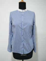 2019 Nouvelle conception shirt couleur Lady Stand Blouse femme coton/nylon chemises double bande