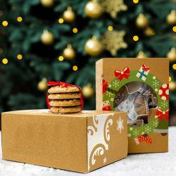 Presente de Natal Doll Embalagem de Papelão Ondulado Caixa de papel Kraft com janela em PVC transparente