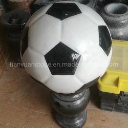 Sculpture de football gris granit, sculpture de football de pierre