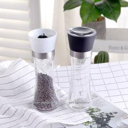 150ml手動塩の粉砕機およびコショウ挽きが付いているガラススパイスの瓶