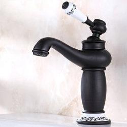 Flg frotté d'huile de bain robinet du bassin de la poignée de fleur en céramique
