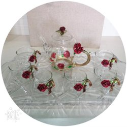 Novo design de vidro borossilicato de alta esmalte bule de chá e copo de vidro