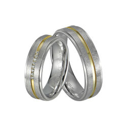 La moda 2 tonos chapado en oro de IP Nickle gratis pareja de hombres y mujeres de los dedos de acero inoxidable 316L Joyas anillo