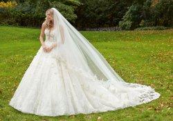 3D Flores Puffy ilusão de volta vestidos de Casamento Crystal Suite Ball Robes Cordão Árabe vestido de casamento