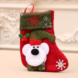 L'albero di Natale verde rosso caldo Sj0463 orna calza della Santa dei bambini del sacchetto della caramella del supporto dei calzini la piccola