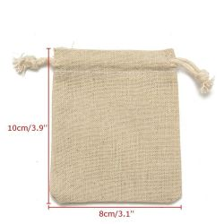 Qualitätsackt natürlicher Leinendrawstring-Schmucksache-Beutel-Jutefaser Leinwand-Paket für Geschenk ein