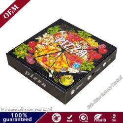 Entrega de fast food biodegradável reutilizável caixa da embalagem de papel padrão de desenhos animados 10/12 polegada Preto Branco Pizza Caixa de Embalagem