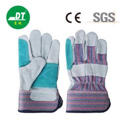 Cowhide de soldadura em couro duplo da palma da mão de obra de algodão Cow Luvas de segurança para trabalho dividido