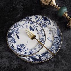 Branco e Azul elegante Restaurante Flower Decal impresso cerâmica profunda Prato novo osso China Flat Plate