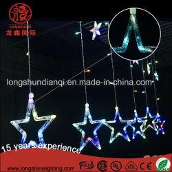 Bunter Stern des Weihnachtenled beleuchtet Vorhang-helle Zeichenkette für Ramadan im Freiendekoration