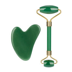 건강한 얼굴 아름다움 바디 헤드 목 발 안마 자연적인 녹색 비취 롤러 Gua Sha 고정되는 마스크 마사지 기계